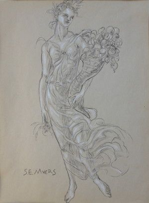 Abundance: Allegorical Figure.  Sarah Myers, charcoal and conte on aged paper.