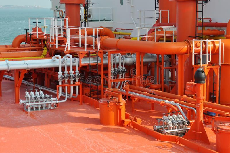 Pipes on the deck of the tanker Grude oil ship