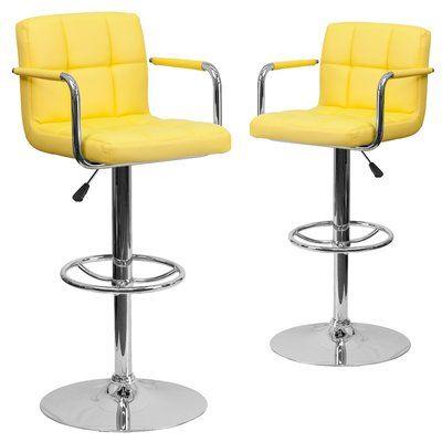 Pleasing Wrought Studio Milam Adjustable Height Swivel Bar Stool Andrewgaddart Wooden Chair Designs For Living Room Andrewgaddartcom