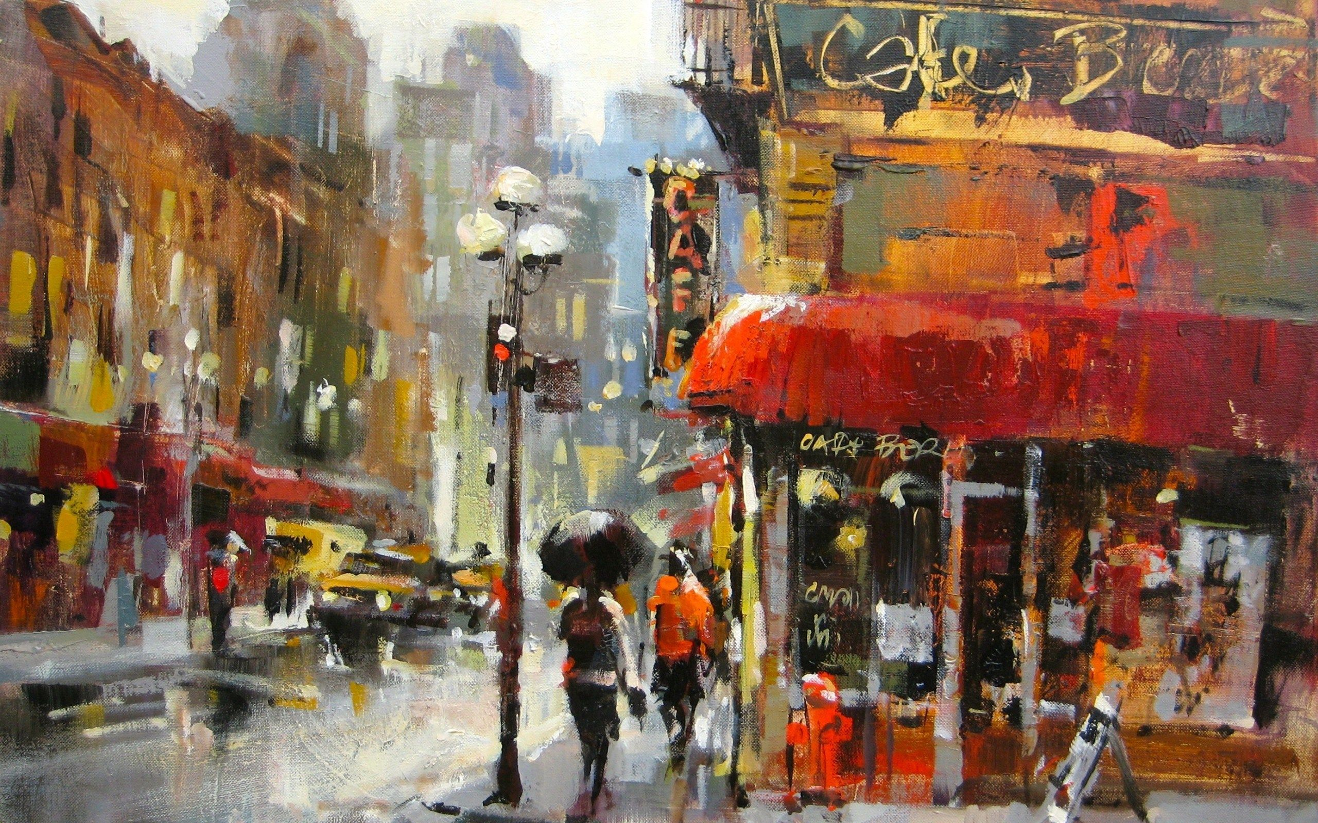 City Street Rainy Day Oil Painting HD Wallpaper