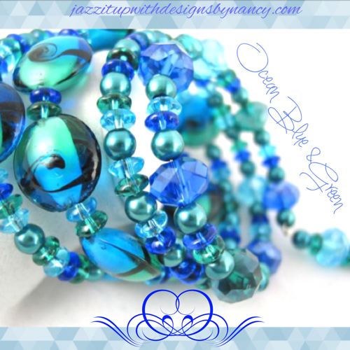 Bracelet Handmade beaded bangle Ocean Blue Teal Lamp work Ocean Glass.  Blue Teal Lampwork Ocean Glass Handmade Memory Wire bangle bracelet. Aqua Black and Teal Lampwork glass beads are luscious with