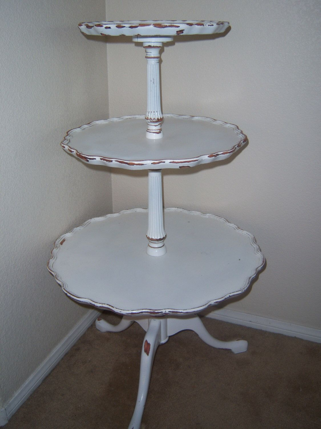 Antique 3 Tier Table Sabby Chic Three Tier Table by MakeMeShabby on Etsy https://www.etsy.com/listing/209169681/antique-3-tier-table-sabby-chic-three