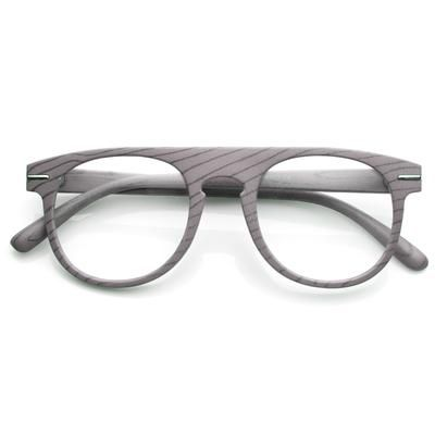 46b60eb10a Artistic Wood Print Indie Key Hole Flat Top Round Clear Lens Glasses 9152