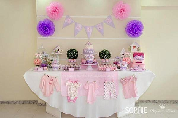 Pink Lilac Purple Butterfly Flowers Girl Baby Shower -2967