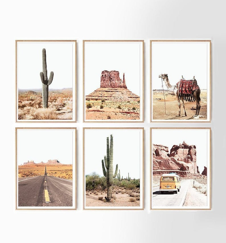 Southwestern Decor Set Of 6 Prints Gallery Wall Set Travel Etsy Travel Gallery Wall Southwestern Decorating Gallery Wall