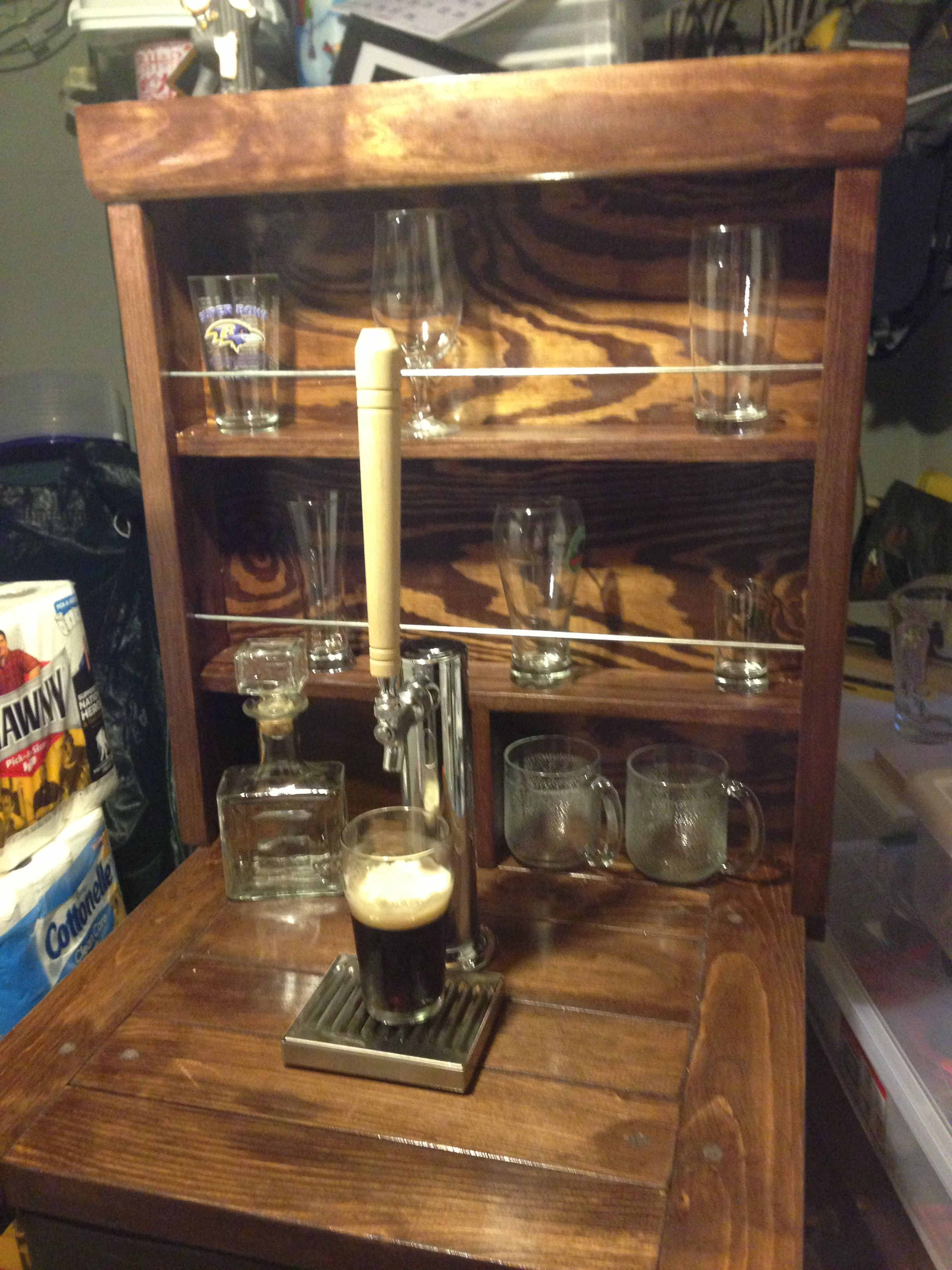 Homemade kegerator I like the shelving behind it for displaying glassware