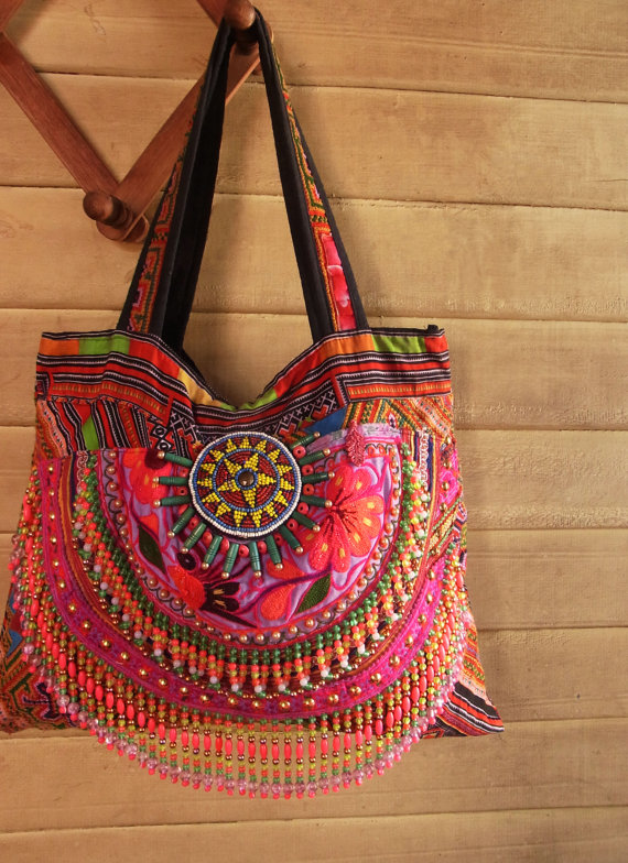 Hmong Boho Fringe Tote Bag Hippie Embroidery Tribal Colorful Beads Purse Handbag