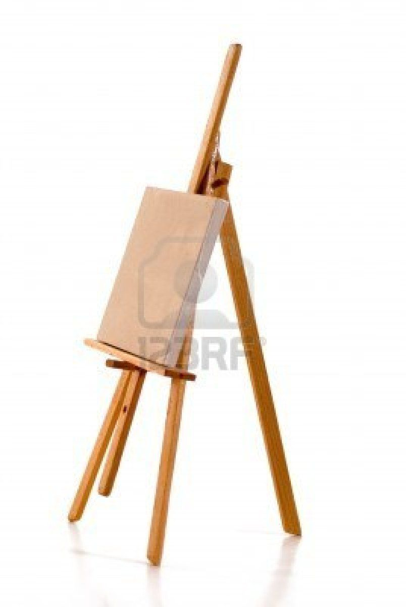 En blanco lino lienzo para pintar en caballete del pintor - Materiales para pintar ...