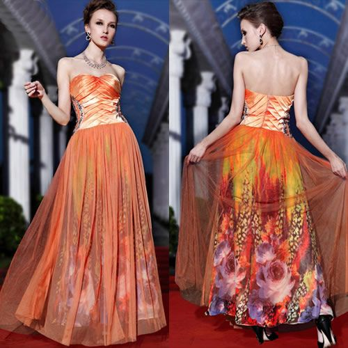 Orange Floral Strapless Masquerade Ball Gowns Cocktail Prom ...
