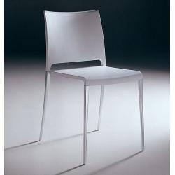 Photo of Pedrali Mya 700 chair, aluminum frame, gray shell, polished aluminum frame Pedrali