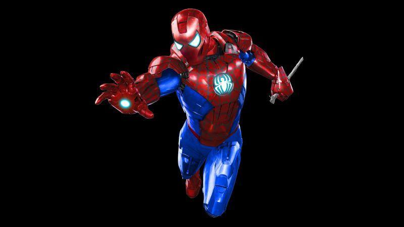 Spider Man Iron Man Iron Spider Dark Background Black 4k 8k