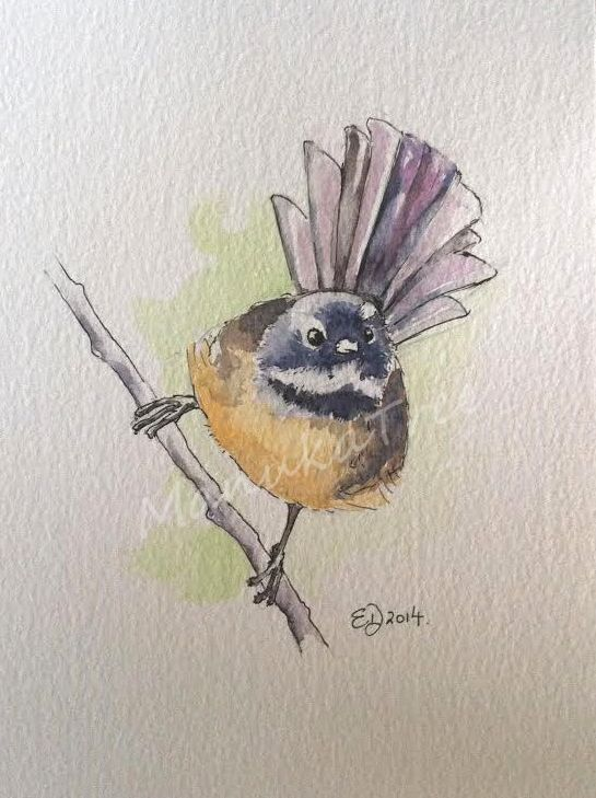 Piwakawaka Nz Native Fantail Sold Bird Art Floral