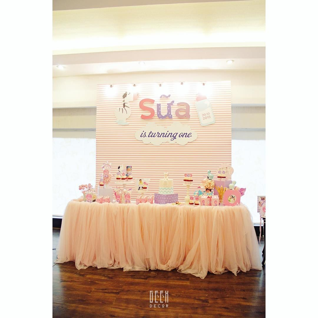 """We love this set. How sweet for our baby girl """"MILK"""" 's first birthday party. Simply adorable #birthdayparty #decoration #babyshower #kids #babygirl #milk #sweet #pink #pastel #strippedpattern #cute #partyidea #1st #lovely #simple #partydecor"""