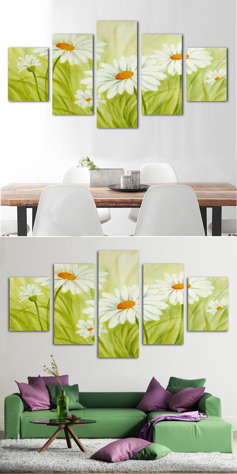 2017 No Time-limited 5 Panels Chrysanthemum Flowers Art Canvas Wall ...