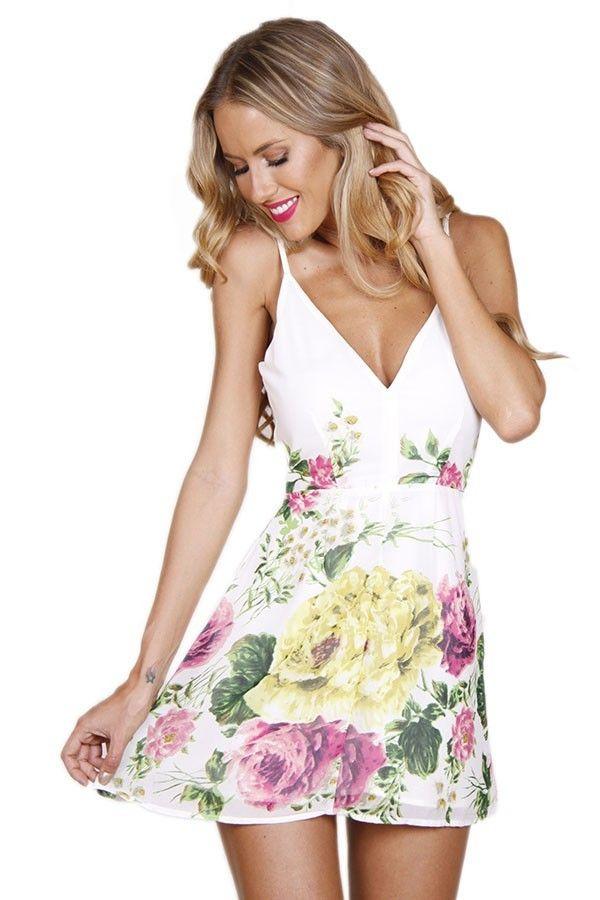 White Floral Posie Lined Dress #ustrendy www.ustrendy.com | Dresses ...