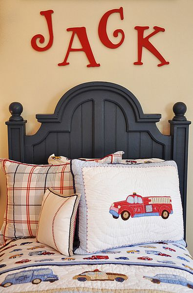 The red wall letters add such a fun detail to this boy's room