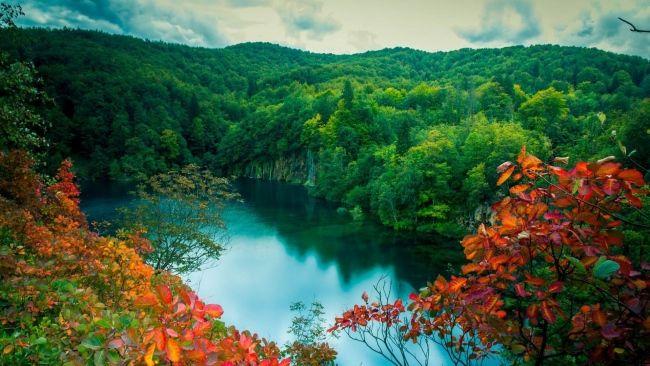 Herunterladen 1920x1080 Full Hd Hintergrundbilder Fluss Wald Baume Blatter Landschaft See Hohe 1080p Waterfall Landscape Autumn Landscape Scenery