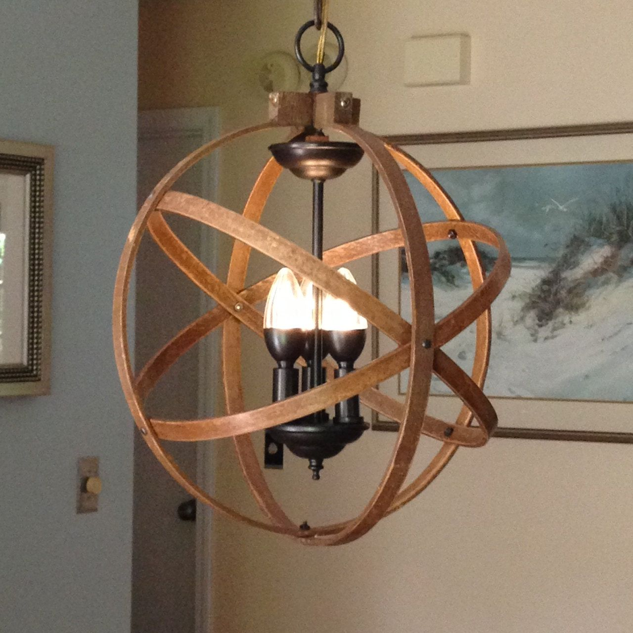 "ORB CHANDELIER LIGHT 14"" Atomic Light Fixture Industrial"