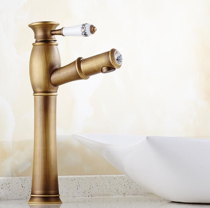 Pull out faucet Antique Brass faucet bathroom sink faucet With ...