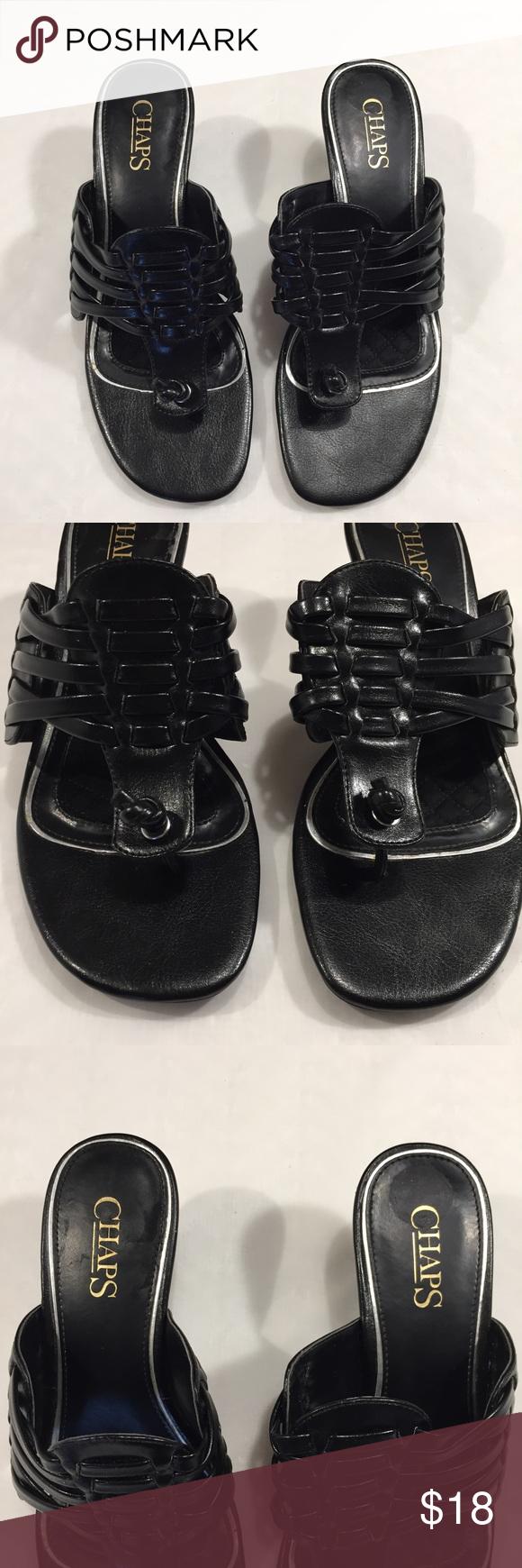 Black sandals size 7 - Chaps Black Sandals Size 7 B Z Chaps Shoes Sandals