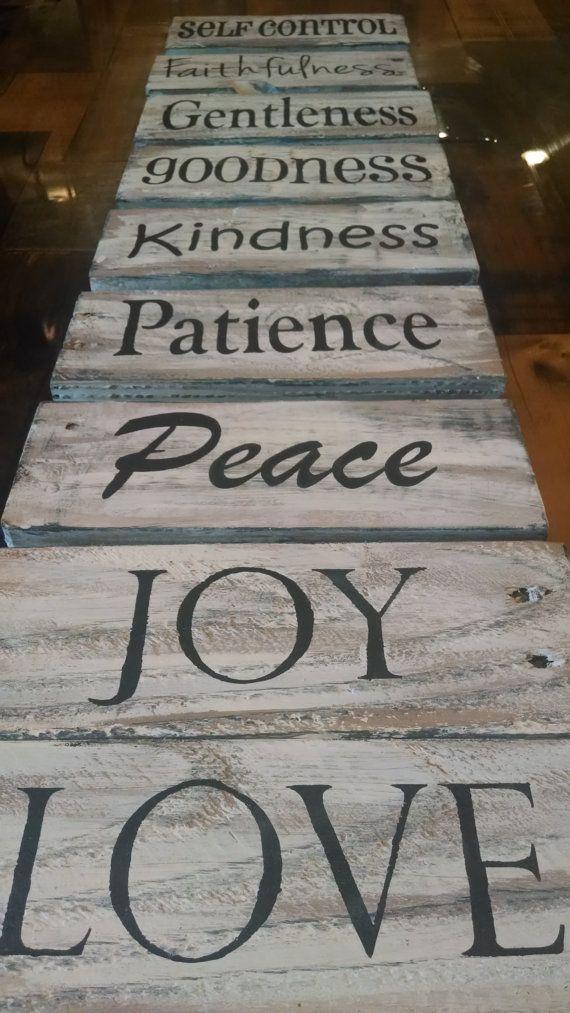 Handmade Single Fruit Of The Spirit Pallet Board Signs Christian