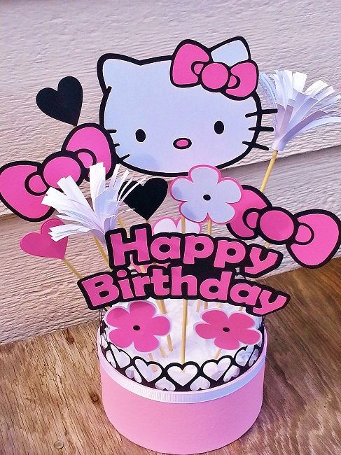 Hello Kitty Centerpiece Table Decor By Pickledcherrypaper Party