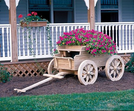 Amish Made Wood Buckboard Planter