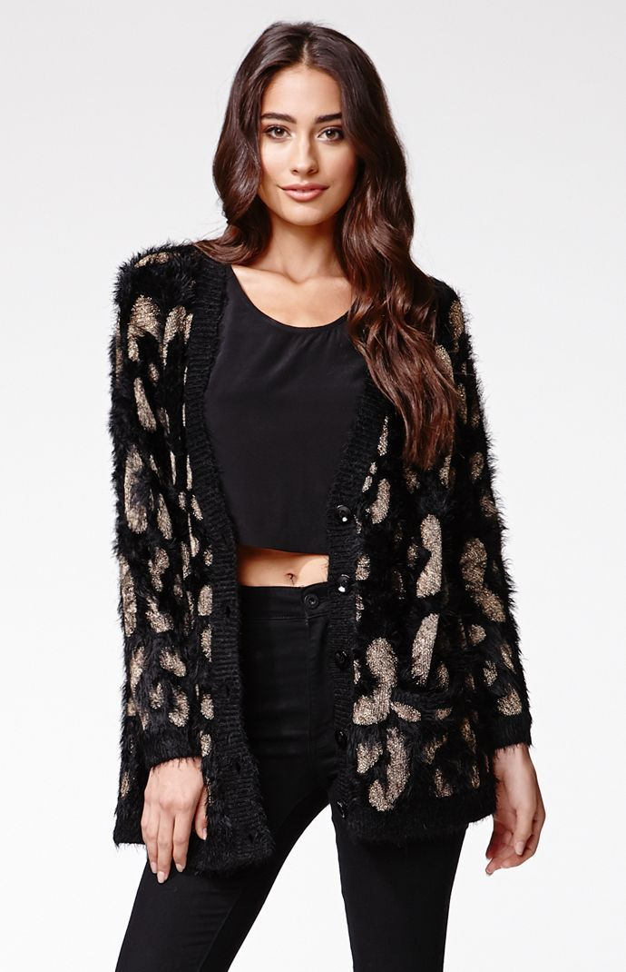 """A PacSun.com Online Exclusive! The MinkPink Nocturnal Cardigan features a soft fuzzy construction with metallic details as well as two front pockets. We love this with a dress or jeans and a t-shirt.28"""" length22"""" sleeve lengthMeasured from a size smallModel is wearing a small77% polyamide, 18& metallic fiber, 5% acrylicHand washImported"""