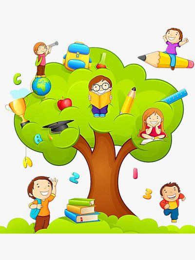 Znalezione obrazy dla zapytania dzieci czytają książki drzewo