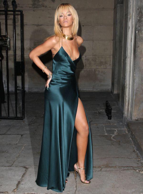 rihanna stella mccartney green slip dress   Rihanna   Pinterest
