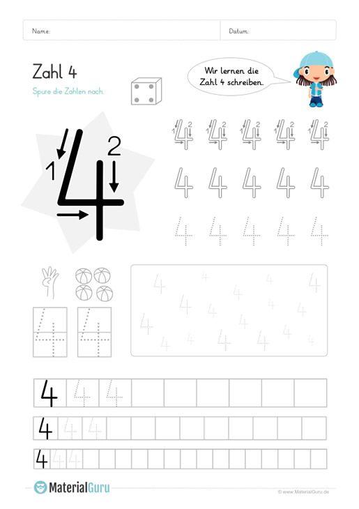 kostenlose arbeitsbl tter und bungen zur zahl 4 f r den mathe unterricht an der grundschule zum. Black Bedroom Furniture Sets. Home Design Ideas