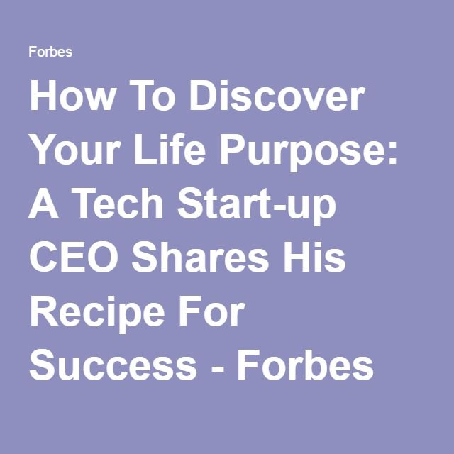 How To Discover Your Life Purpose: A Tech Start-up CEO Shares His Recipe For Success - Forbes