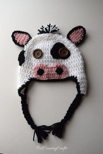 Crochet Cow Hats Made From A Free Pattern Holsteins And Guernseys