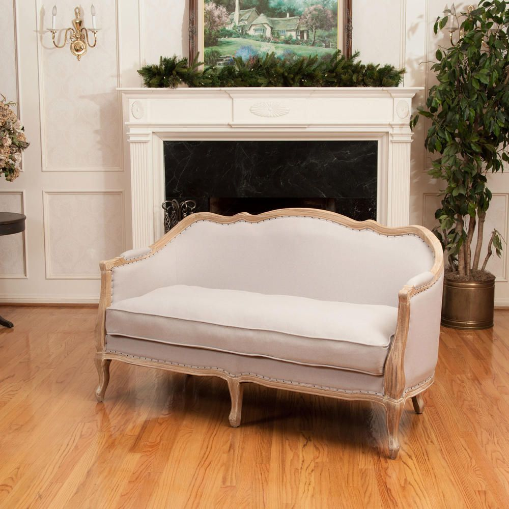 Beige French Country Loveseat Couch Settee Sofa Oak Wood Nailhead Rustic Seat #na #Transitional