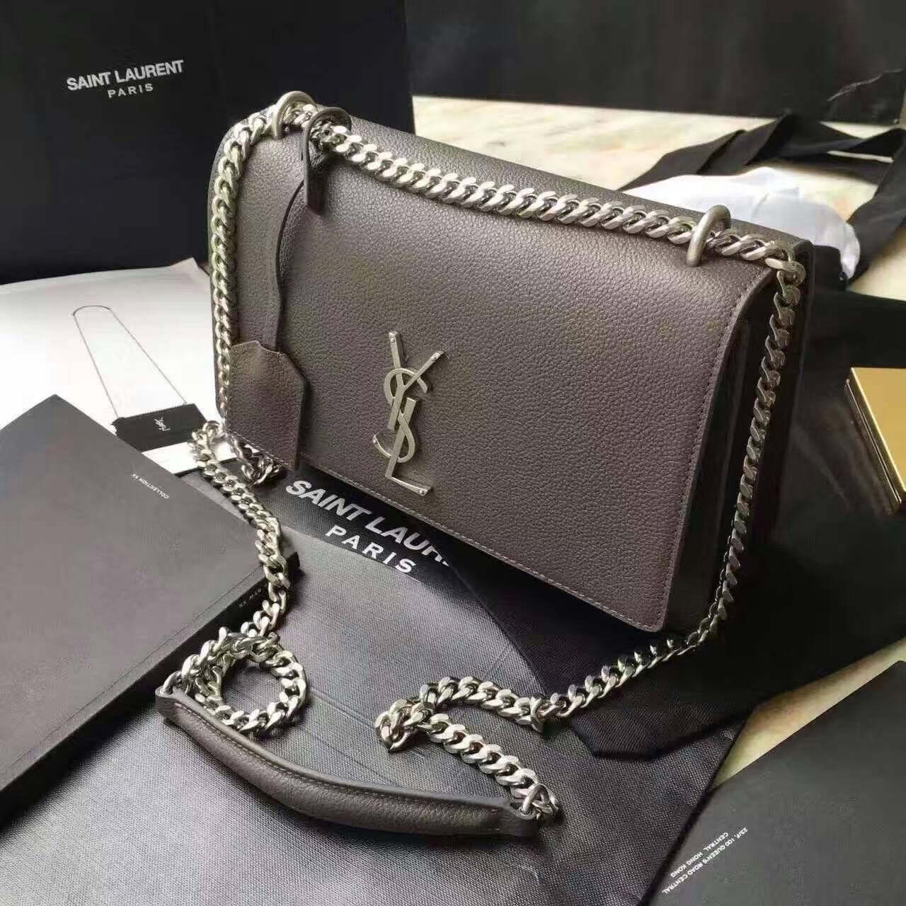 Limited Edition!2016 Saint Laurent Bags Cheap Sale-Saint Laurent Medium  Sunset Monogram Bag in Dark Anthracite Grained Leather 00bde6fdd9302