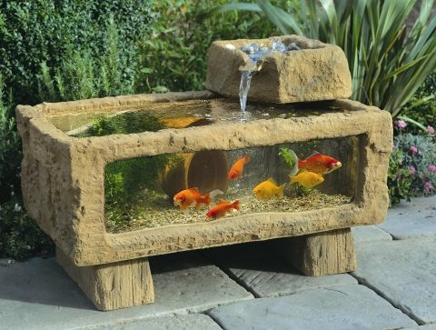 Balcony garden ideas small apartment balcony pond for Concrete garden pond