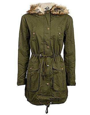 Select Coats, Price: GBP 39.99, Khaki Borg Lined Parka | Rock and ...