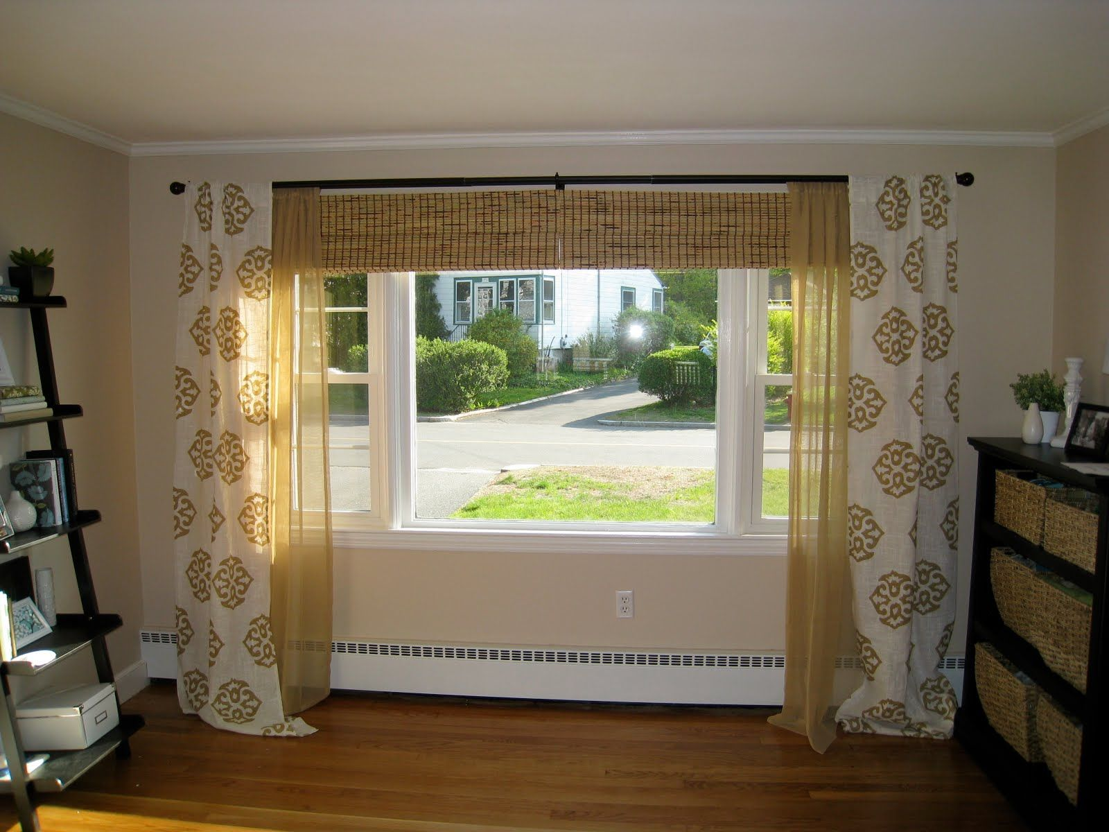 Window ideas for living room curtains round 3 windows for Curtain for living room ideas