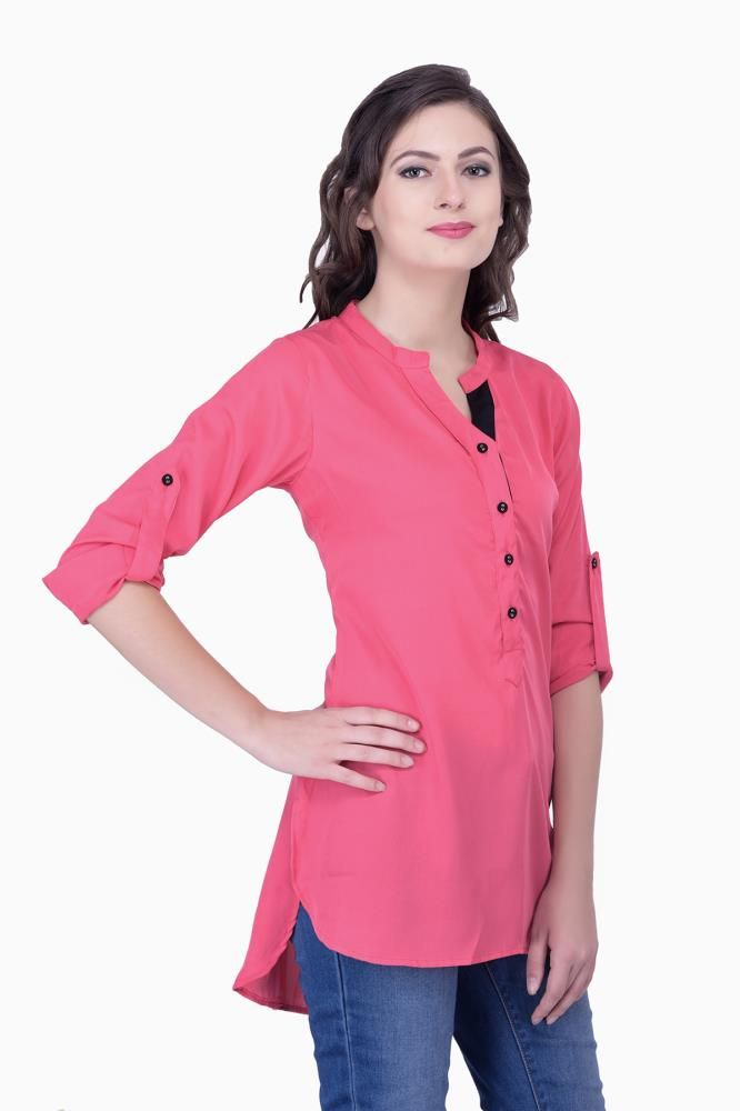 Pink Solid Women Party Wear Office Casual Tops Tunic Tunics For Online
