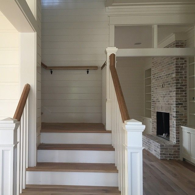 Farmhouse Stair Entry. Shiplap And Transom Window
