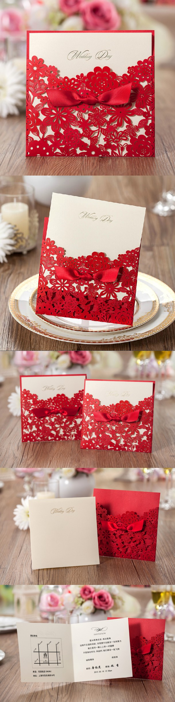 Chinese Red Laser Cut wedding Invitation Cards Free Personalized ...