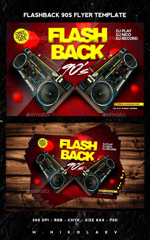 Flashback 90s Flyer Flyer size, Font logo and Flyer template - comedy show flyer template