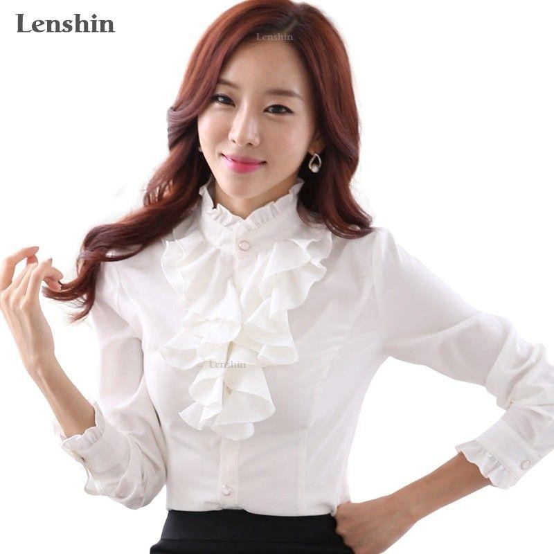 94ff599b Lenshin White Blouse Fashion Female Full Sleeve Casual Shirt Elegant  Ruffled Collar Office Lady Tops Women Wear