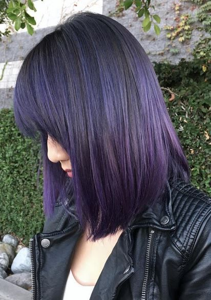 Amazing Violet And Black Hair Color Hair Color For Black Hair Purple Balayage Hair Color Purple