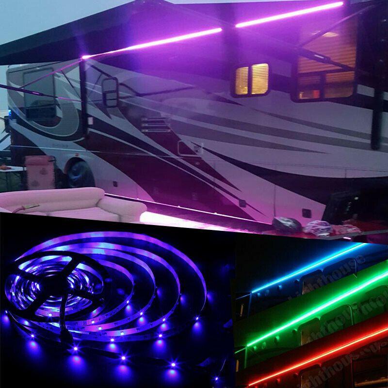 Sponsored Ebay 2pc 16ft Rv Awning Camper Led Light Set Multicolor Waterproof W Ir Remote 44 Key Boat Lights Led Lights Awning Lights
