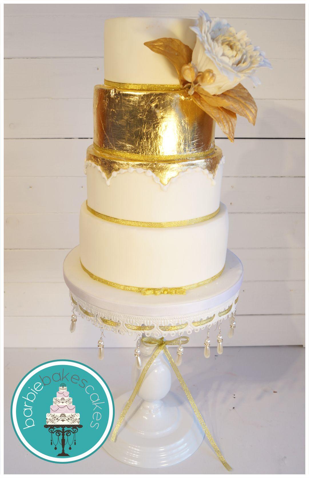 Gold leaf wedding cake barbie bakes cakes web rbiebakesca