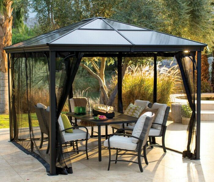 Hard Top Gazebo Metal Black Steel Frame 10x12 Heavy Duty Canopy Mosquito Screen Gardenstructuresas Modern Dizajn Patio Besedka Patio Besedka Na Kryshe