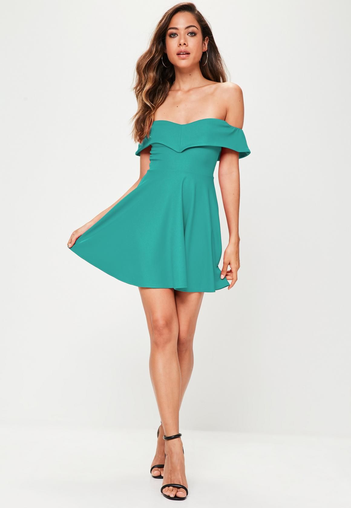 Missguided - Blue Teal Wrap Bardot Skater Dress | Party dresses ...