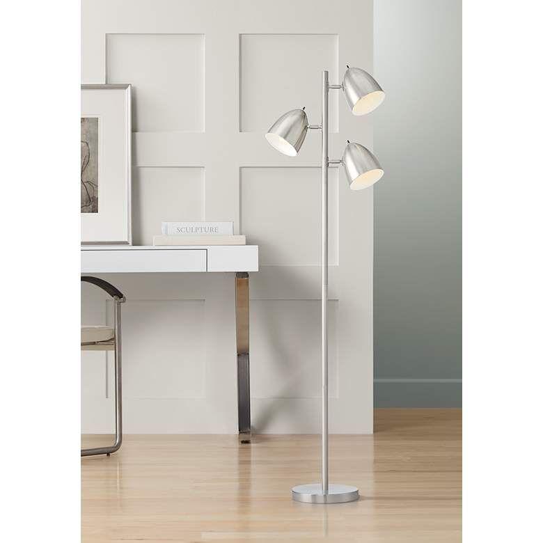 Aaron Brushed Nickel 3 Light Tree Floor Lamp 41a89 Lamps Plus Brushed Nickel Floor Lamp Retro Floor Lamps Tree Floor Lamp