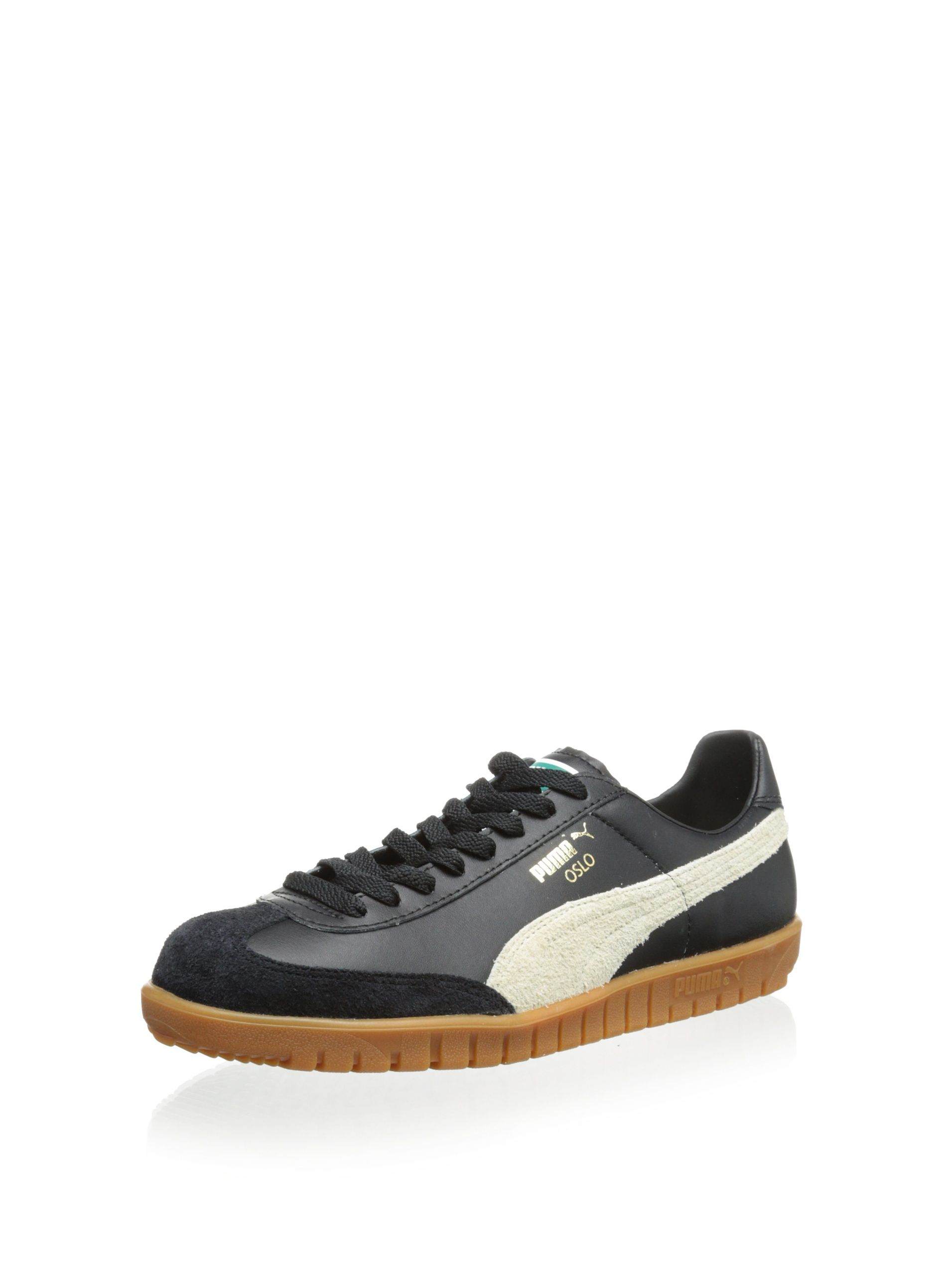 81c3879ae9d2 PUMA Oslo Leather Classic Sneaker (Black Whisper White) Sleek style  features suede overlays